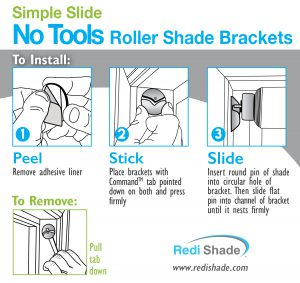 Redi Shade Simple Stick Roller Shade Brackets No Tools